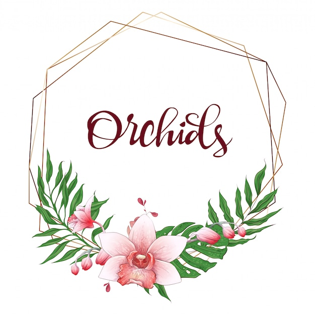 Floral design geometric frame