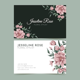 Floral design of horizontal business card template