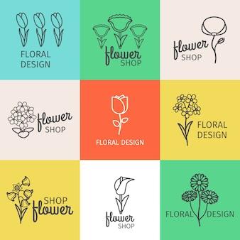Floral design line logo