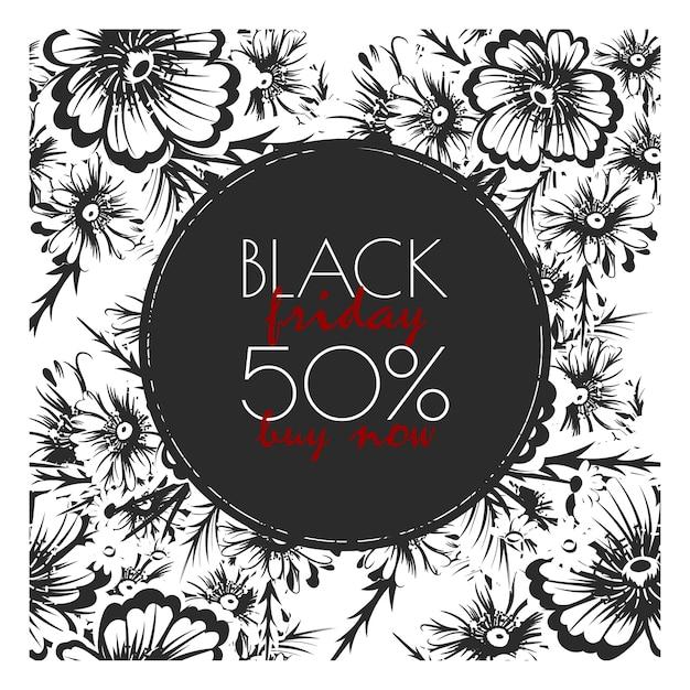 Цветочный дизайн шаблона для черной пятницы распродажа