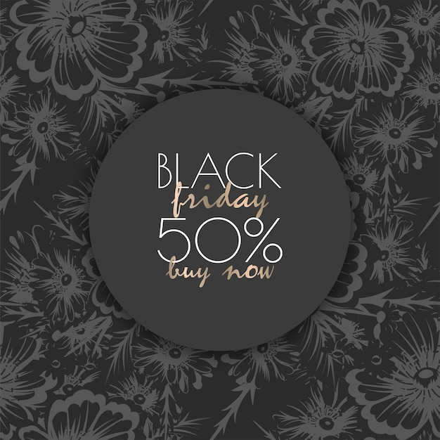 ブラックフライデーセールの花柄のデザインテンプレート