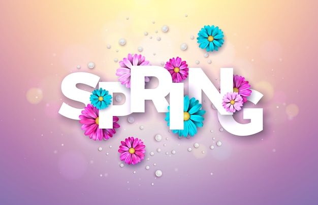 Floral design template with typography letter