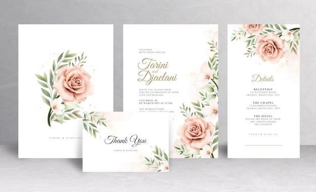플로랄 디자인 웨딩 카드 세트 템플릿
