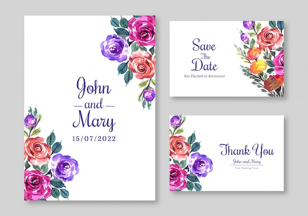 Floral design wedding invitation card template