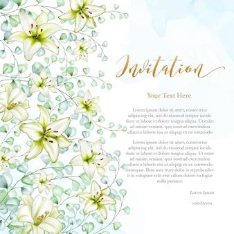 Floral design wedding invitation card