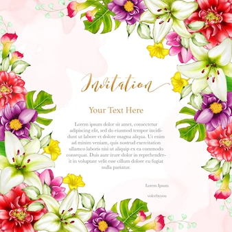 Floral design wedding invitation card