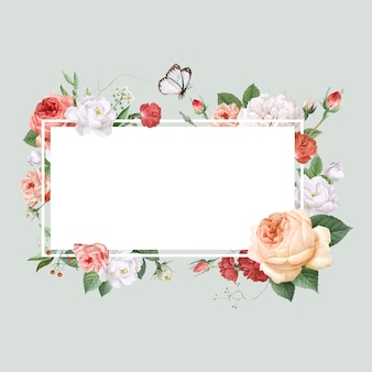 Floral design wedding invitation mockup