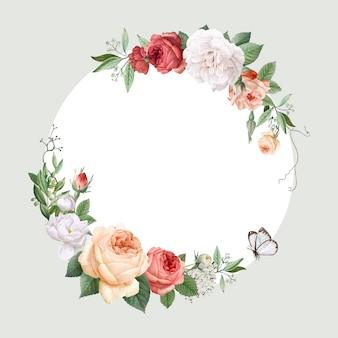 花柄のデザインの結婚式の招待状のモックアップ