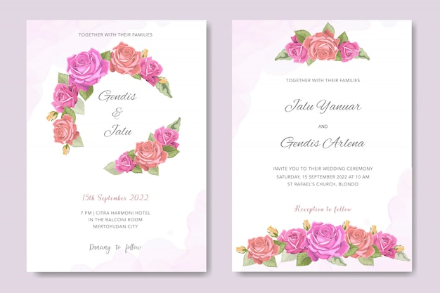 Floral design wedding invitation