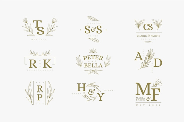 Floral design wedding logos