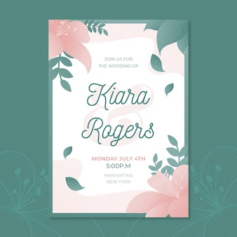 Floral design wedding party invitation