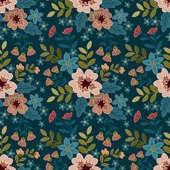 エレガントな花のシームレスなパターンと花柄のデザイン。このパターンは、ファブリックテキスタイルの壁紙に使用できます。