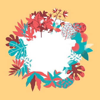 Floral design with leaves, plants, trees