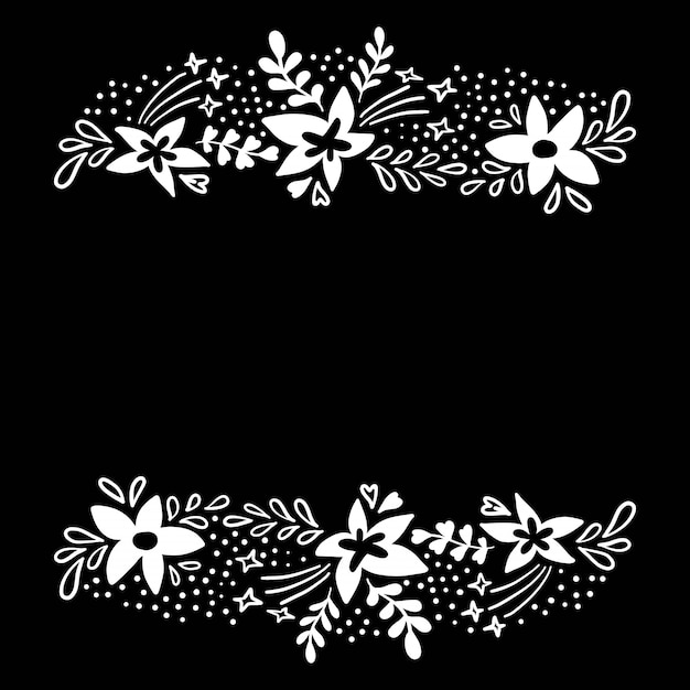 Floral design with white flowers on black in flat style