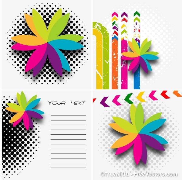 Disegni floreali template background vector set