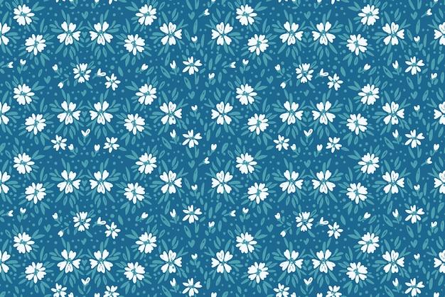 Millefleursとリバティスタイルのフローラルディッシーデイジーシームレスパターンヴィンテージの小さな花柄