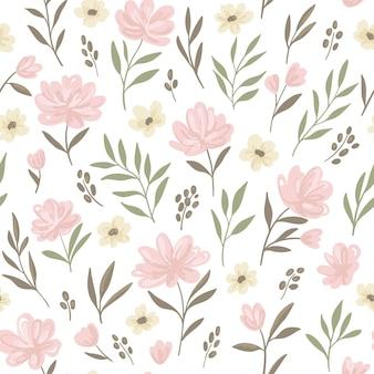花の頭が変なシームレスパターン。ピンクの花とパステルカラーの枝。