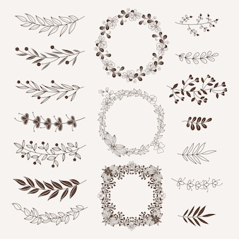 Floral dividers, borders and frames  collection. vintage ornate elements