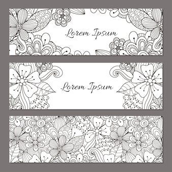 Floral doodle banners set. black and white beautiful flyer templates for your design. vector illustration
