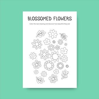 Foglio di lavoro floreale primavera da colorare fiore doodle