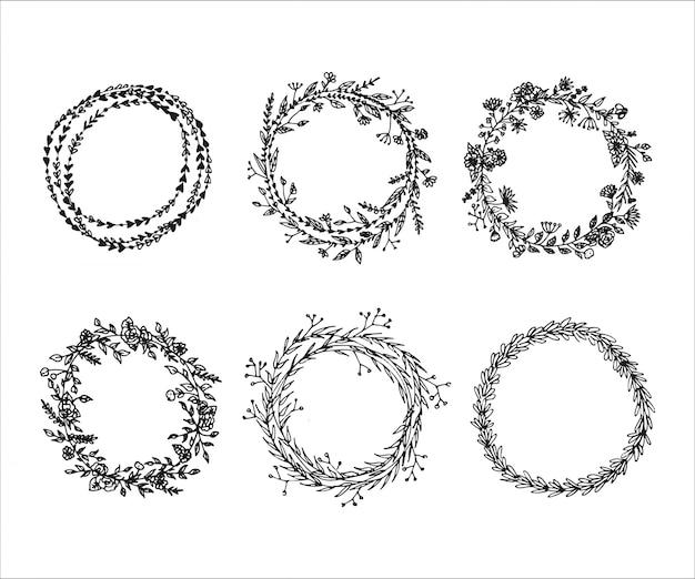 Floral doodle frame wreaths