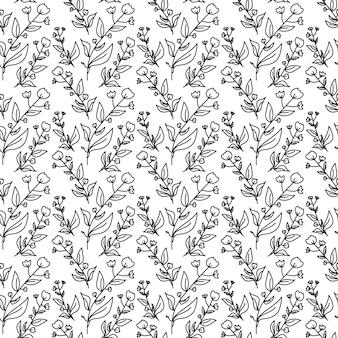 꽃 낙서 기하학적 패턴 원활한 흑인과 백인