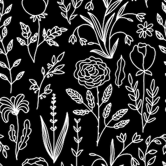 Floral doodle seamless pattern of flowers and herbs thin line sketch