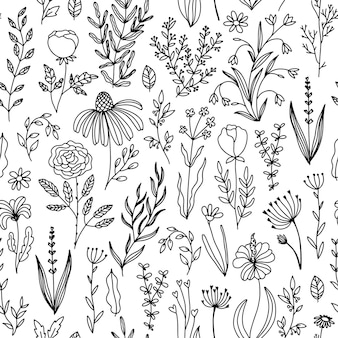 Floral doodle seamless pattern of flowers and herbs