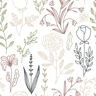 Floral doodle seamless pattern