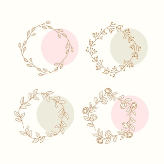 Floral doodle wreath collection