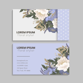 Floral and dotted business card