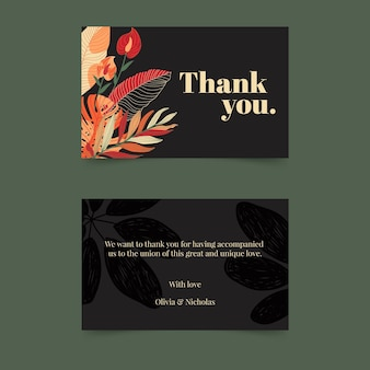 Floral double-sided horizontal business card