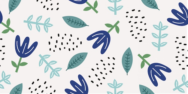 Floral drawing seamless pattern with cute doodle ornaments