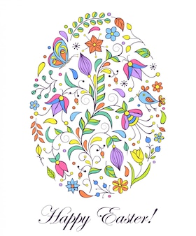 Floral easter egg on white background