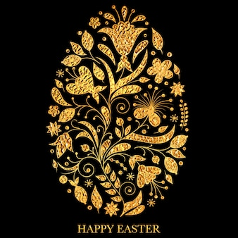 Floral easter egg with golden texture on black background.
