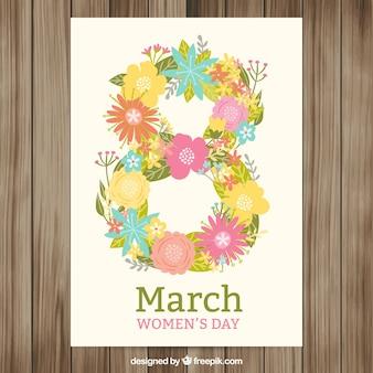 花8人の女性の日カード