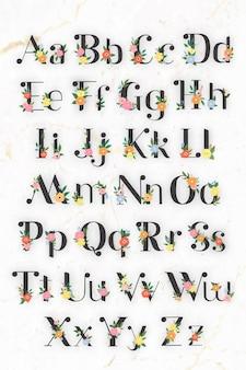 Floral elegant alphabet lettering vector set