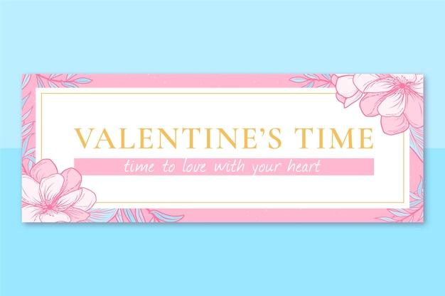 Floral elegant valentine's day facebook cover Free Vector