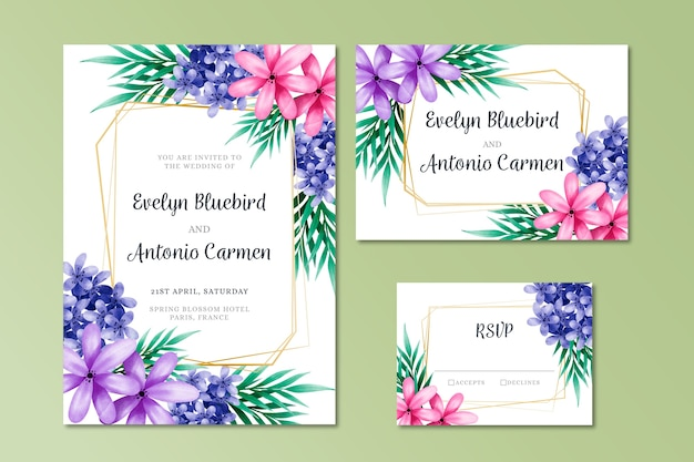 Цветочные элегантные свадебные канцтовары
