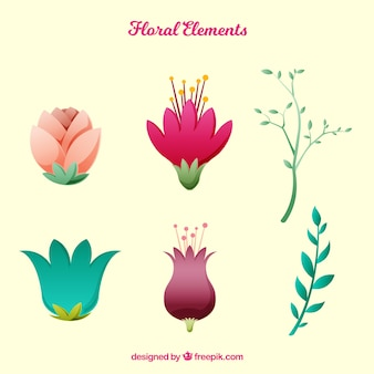 Floral element collection with flat design