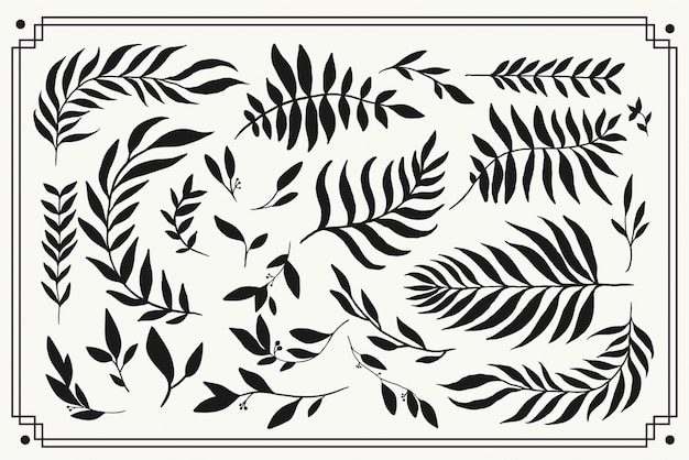Floral element silhouette graphics. hand drawn simple botanical plant illustrations.