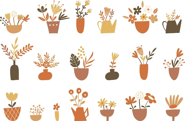 花の要素と花瓶のクリップアートセット。ベクトルイラスト。