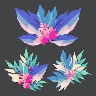 Collezione di elementi floreali in stile piatto