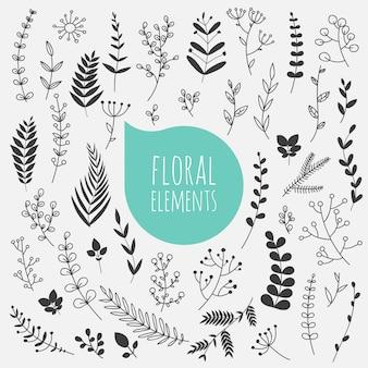 Цветочные элементы. коллекция весенних цветов, листьев, одуванчика, травы.