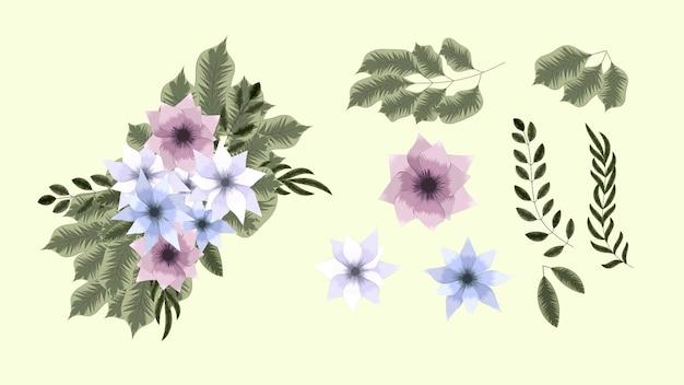 花の要素コレクション春の花詳細なクリップアート要素
