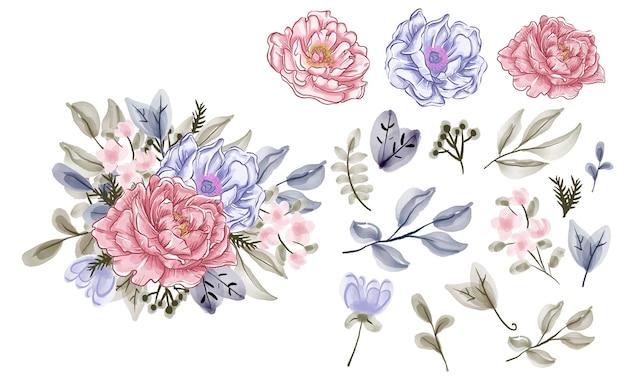 Collezione di elementi floreali, set di fiori ad acquerello