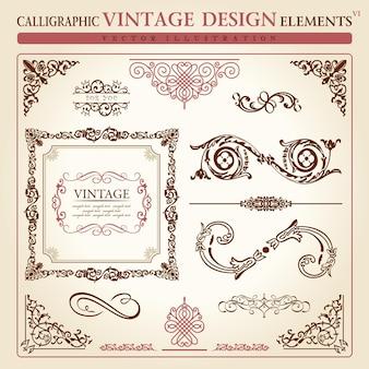 Floral elements vintage design ornament set