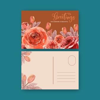 葉、バラの水彩イラストと花エンバーグローブーケ。