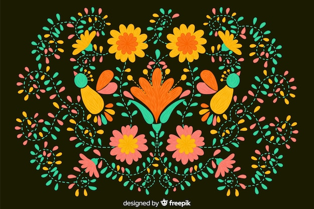 Floral embroidery background