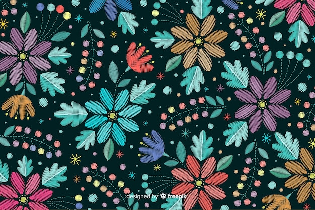 花の刺繍の背景